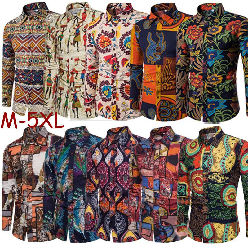 Fashion Men/'s Summer Casual Dress Shirt Mens Floral Long Sleeve Shirts Tops Tee