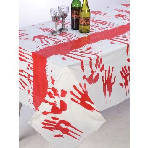 Bloody Hand Vinyl Halloween Tablecloth $6 Walmart Halloween - walmart halloween decorations