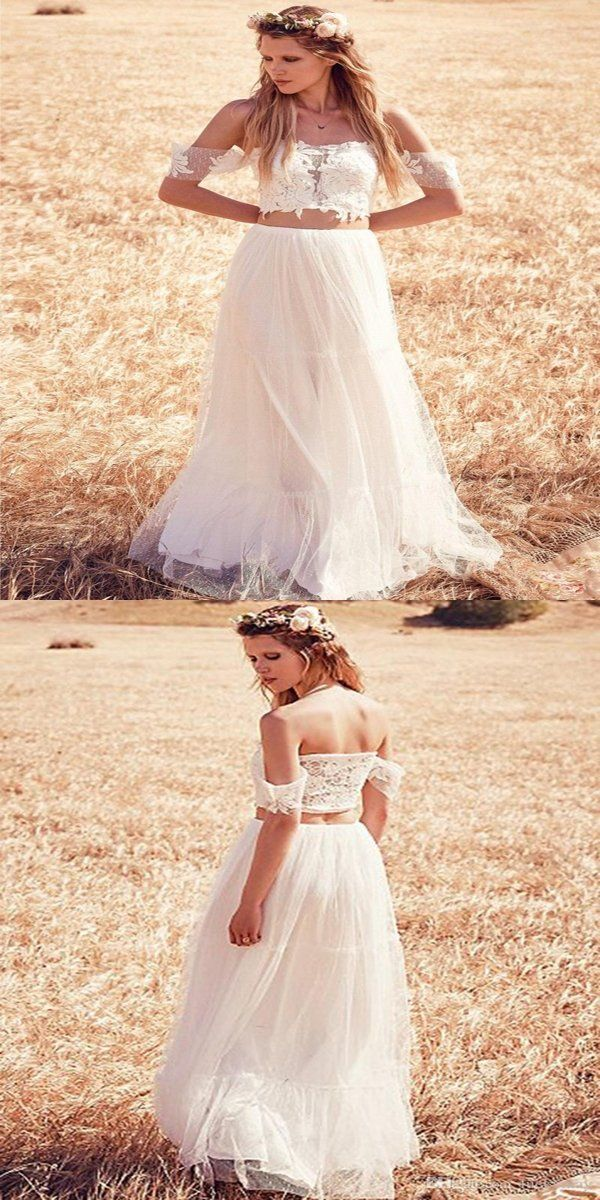 A Line Two Pieces Off Shoulder Tulle Long Beach Wedding Dresses