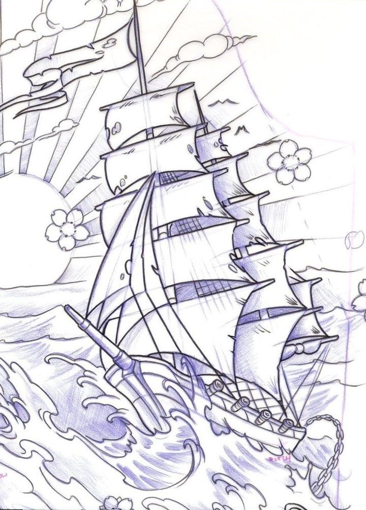 Line Drawing Ship Tattoo Design