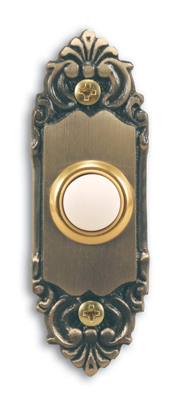 Heath Zenith 925 Wired Door Chime Push Button, Antique Brass with Lighted  Center - Doorbell Push Buttons - Amazon.com - Heath Zenith 925 Wired Door Chime Push Button, Antique Brass With
