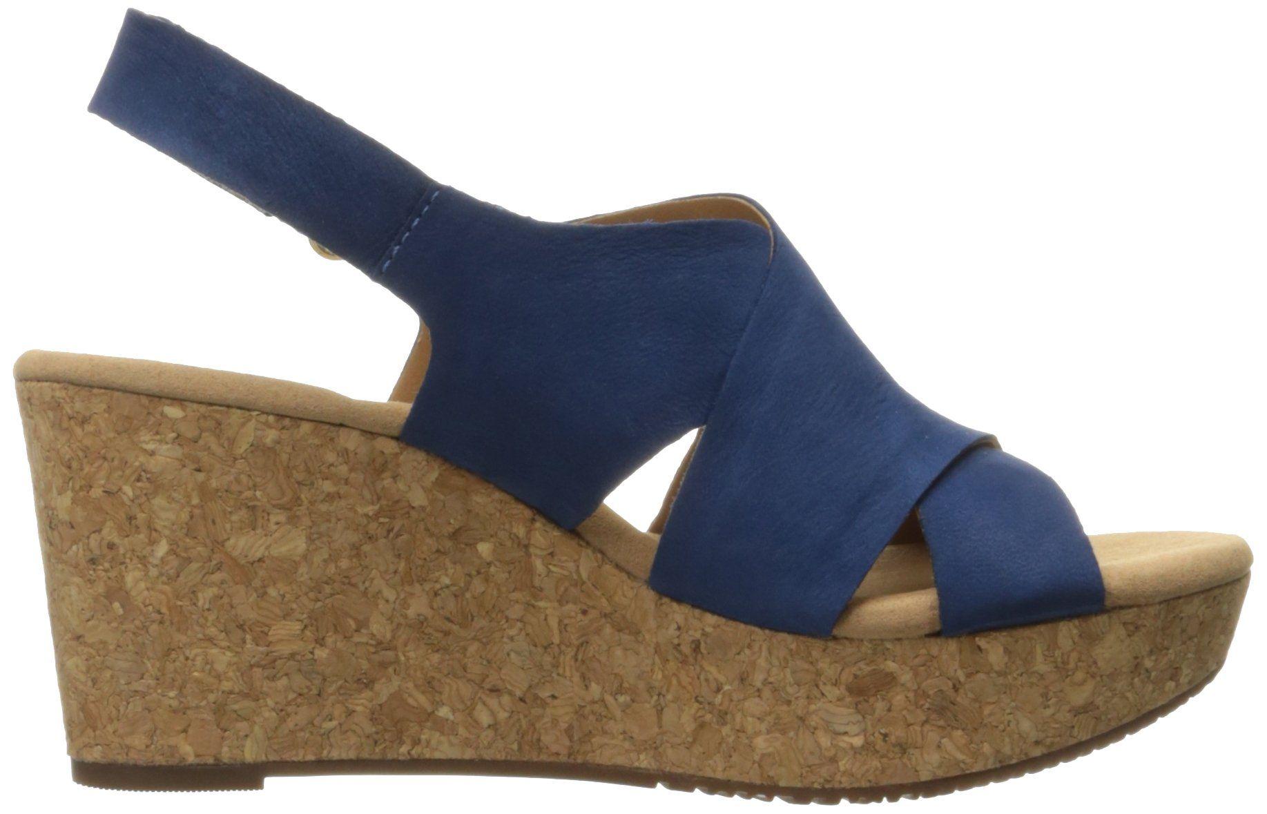 fd9771fe4d9f Clarks Womens Annadel Fareda Wedge Sandal Dark Blue Nubuck 10 M US   Click  on the