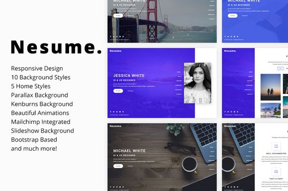 Nesume - Portfolio / Resume Template by Erilisdesign on @creativemarket