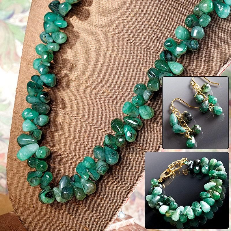 Cayman Emerald Necklace Bracelet Earrings Set 22727 Stauer