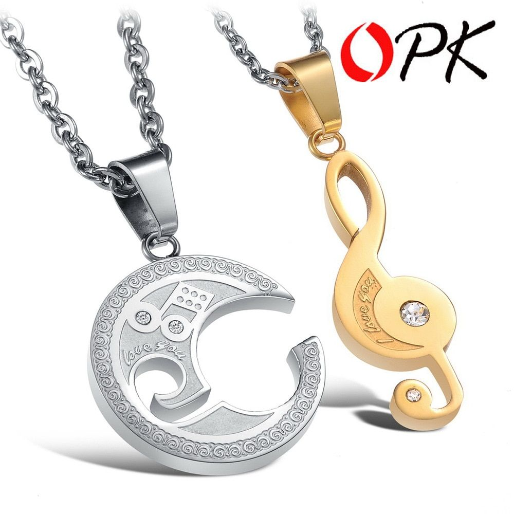 8b421f2fb8 STAINLESS STEEL Puzzle Music Note Necklace for couples Unique Design Cute  Style 822