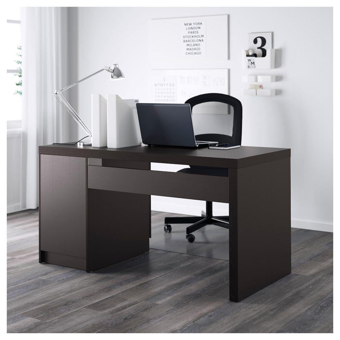 Malm Desk Black Brown 55 1 8x25 5 8 Ikea White Paneling