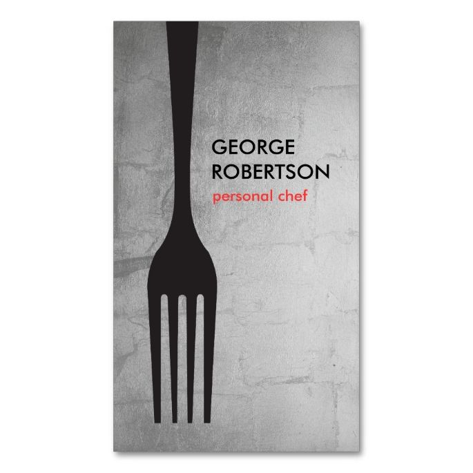BIG FORK LOGO III for Chef, Catering, Restaurant Double-Sided Standard Business Cards (Pack Of 100). Make your own business card with this great design. All you need is to add your info to this template. Click the image to try it out!
