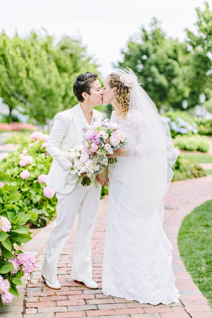 white gucci suit and l'fay bridal gown   Lesbian wedding, Dream ...