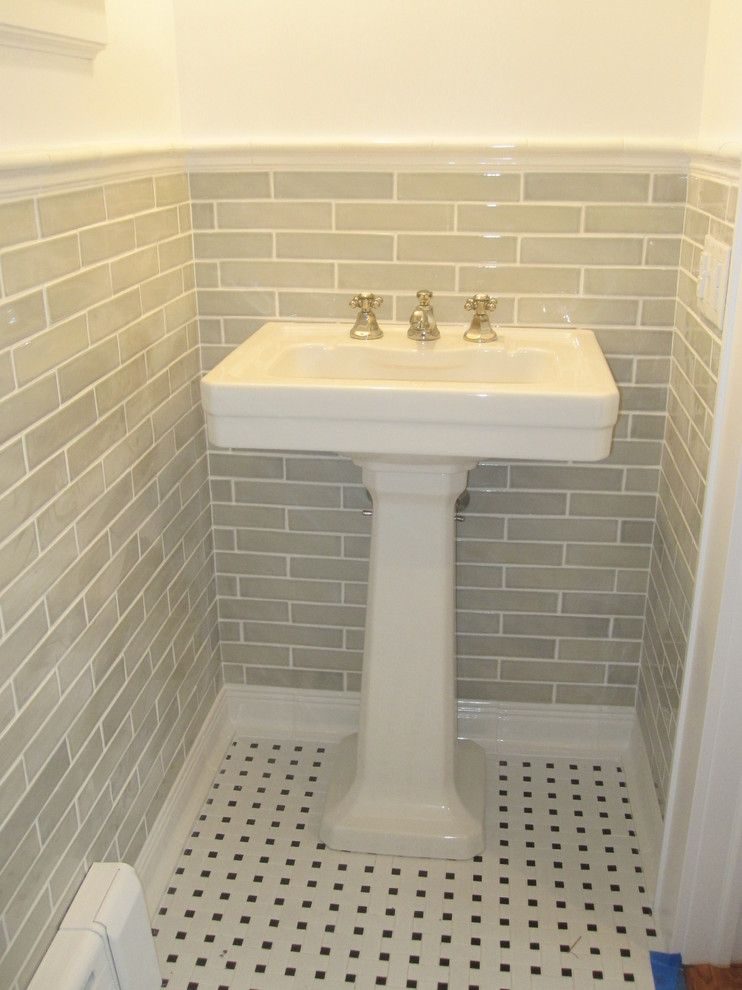 Handmade Subway Tile Bathroom Traditional With None