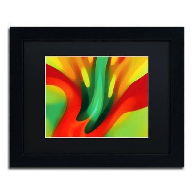 """Trademark Art """"Red Lily"""" by Amy Vangsgard Framed Painting Print Size: 11"""" H x 14"""" W x 0.5"""" D, Matte Color: Black"""