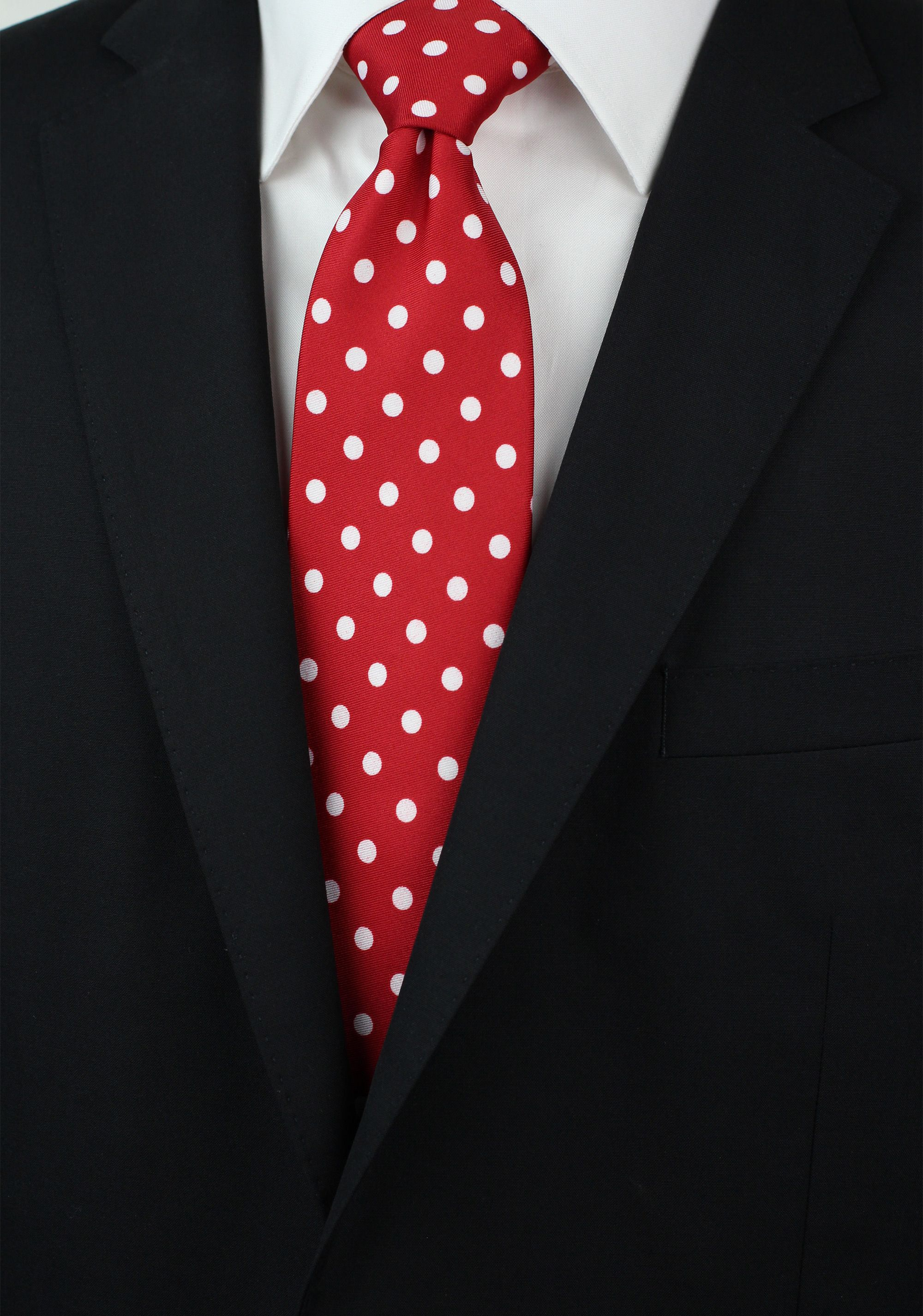 27d7ac856ebab Tomato Red Mens Tie with White Polka Dots | Bows-N-Ties.com in 2019 ...