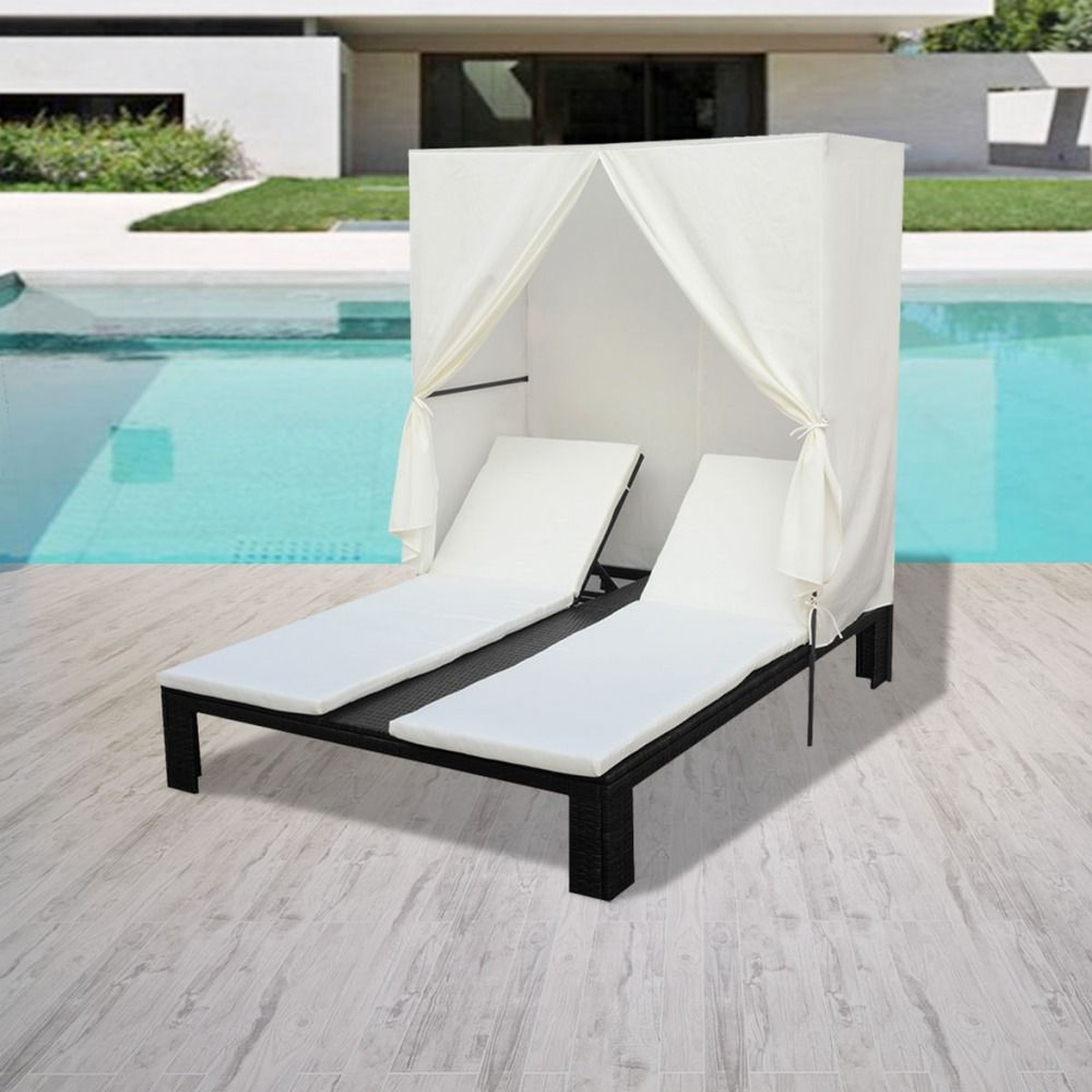 Patio Double Chaise Lounge Set Bed And Canopy Sun Shade Gazebo