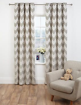 Whatever Your Style Well Help You Find Curtains Or Blinds That Will Complement Room Neutral Chevron Jacquard Eyelet