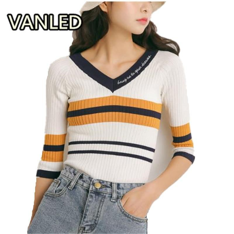 0948e6c68e Vintage Striped Knitting V Neck Slim Woman Chic Half Sleeve Sweater Tops.  Yesterday's price: US $17.48 (15.60 EUR). Today's price (November 22, ...
