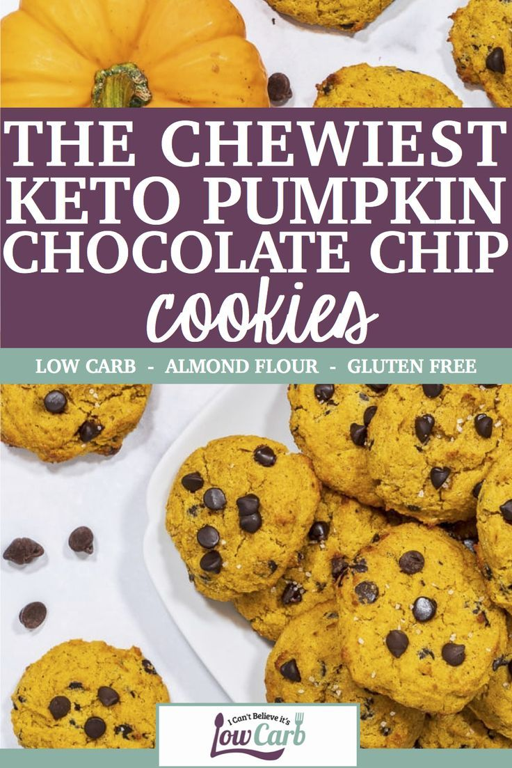Chewy Keto Pumpkin Chocolate Chip Cookies These pumpkin chocolate chip cookies are sure to become a staple at your house for these fall months They are chewy sweet and gu...