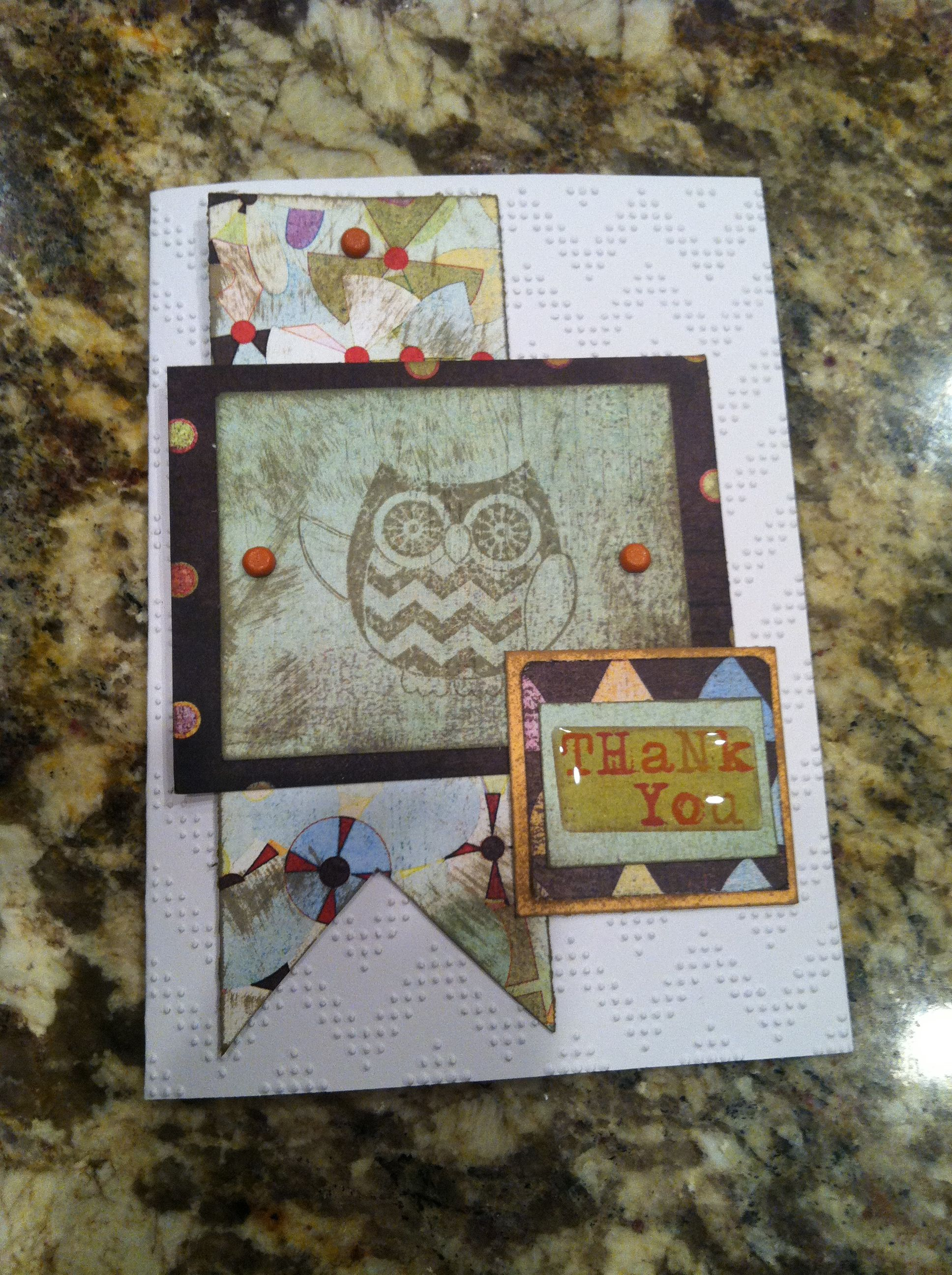 owl thank you card with images  cards handmade card