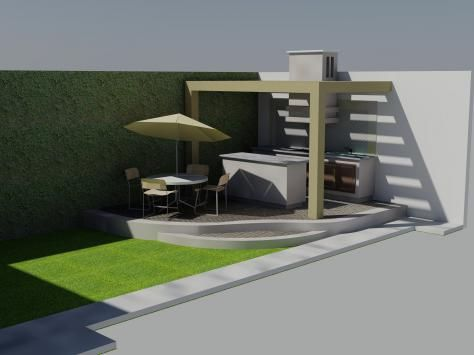 Asador moderno asadores pinterest asador moderno y for Casa moderna jardin d el menzah