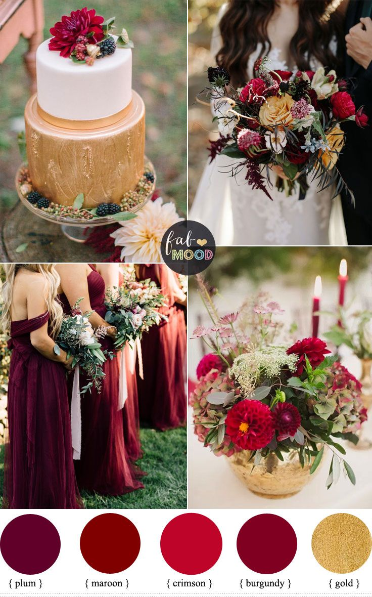 Maroon decor for wedding  An Elegant Autumn Wedding Colour Inspiration and Gold Wedding Cake