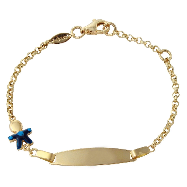 K yellow gold boy baby id enamel bracelet