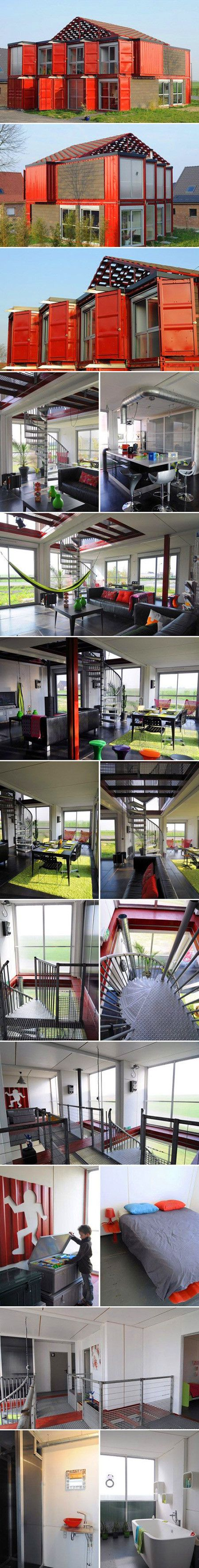 We've covered shipping container homes before, but this one definitely takes the cake in terms of design an aesthetics. As you can see, rather than just have shipping containers stacked atop each other, this home put in lots of modern touches like a spiral staircase, floor-to-ceiling windows, and even tiled floors.