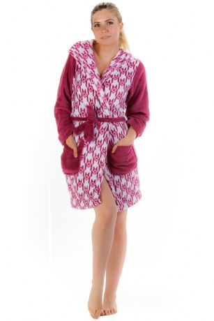 LA Fashion Women s Fleece Hooded Bathrobe Robe - Red - Wrap around in Total  comfort with 9e30b4fc7