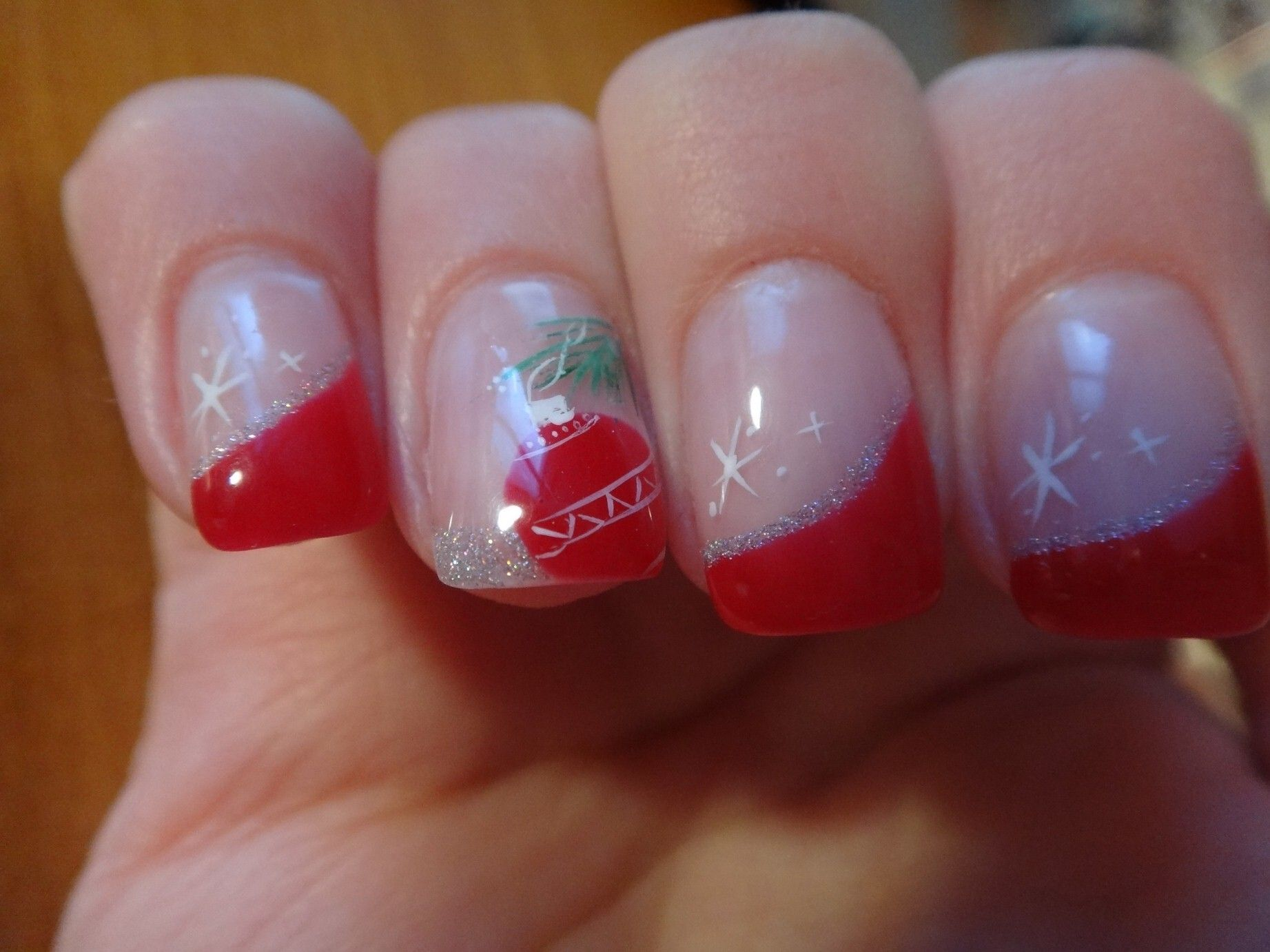 #nails #french #red #christmas #glitter #acrylicpaint
