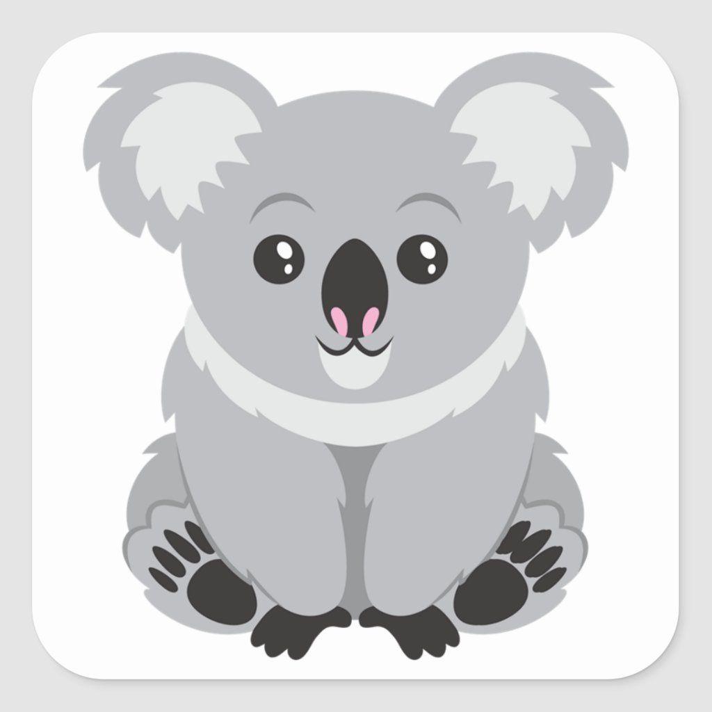 Cute Koala Bear Square Sticker Zazzle Com Koala Drawing Koala Illustration Cute Koala Bear