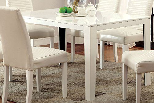 Furniture of America Kano Contemporary Dining Table White Check