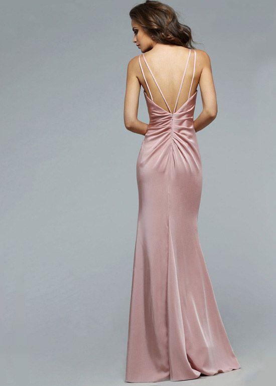 Sexy V Neck Ruching Straps High Slit Dusty Pink Long Prom Dress ... feeb5bd95