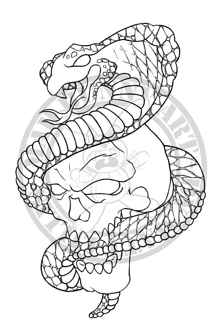 Skull Cobra Skull Sleeve Tattoos Art