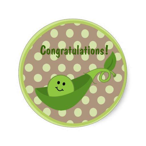 Pea In a Pod Baby Shower Sticker - Green