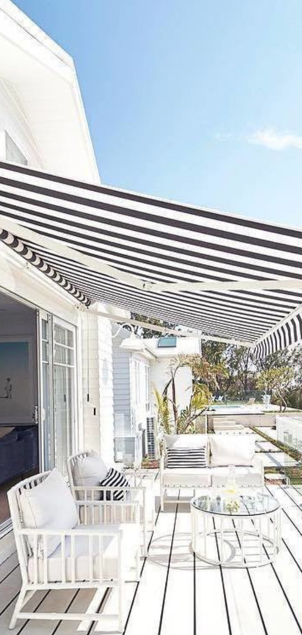 Coastal Inspired Verandah Area Three Birds Renovations Hamptons House Outdoor Blinds
