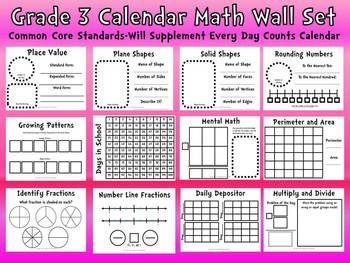 Common Core 3rd Grade Calendar Wall Set Supplement Every Day Calendar Teacherspayteachers Com Calendar Math Everyday Math Math Wall