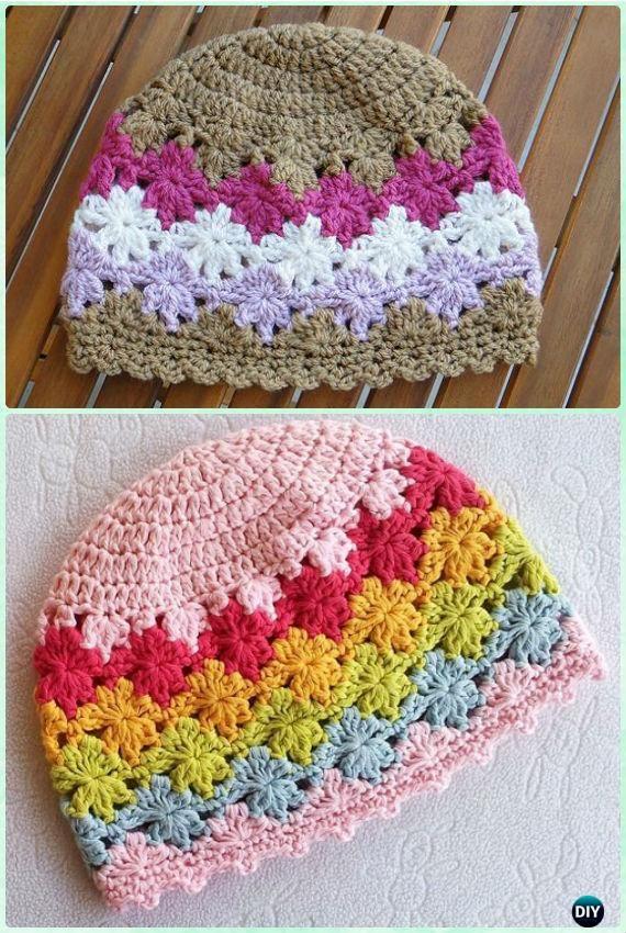 Crochet Perenni Floral Beanie Hat Free Pattern Instruction | Boinas ...