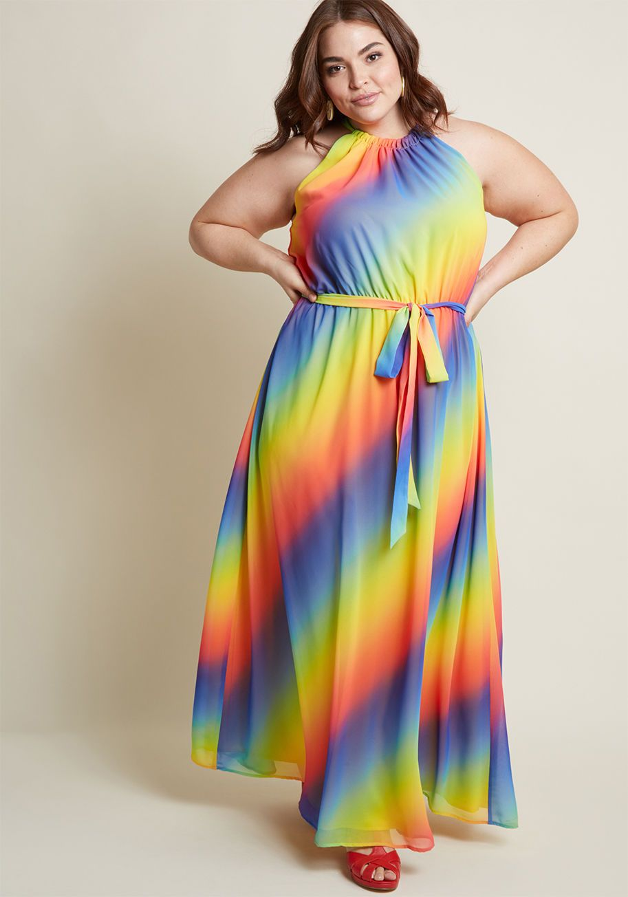 Illuminate Elegance Chiffon Maxi Dress In Rainbow Nothing Can Rival Your Glow But This Vibr Maxi Dress Plus Size Fashion Dresses Designer Plus Size Clothing [ 1304 x 913 Pixel ]
