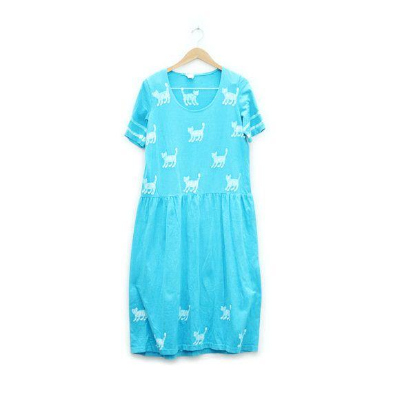 hand batik cat print midi dress m/l by afinedayforsailing on Etsy, $32.00