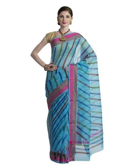 ed2244a3515f71 Buy Craftghar Kota Doria Cotton Blue Pink Green Block Print Saree Sari with  Blouse online shopping India   Kota Doria Silk   best price 1099.00