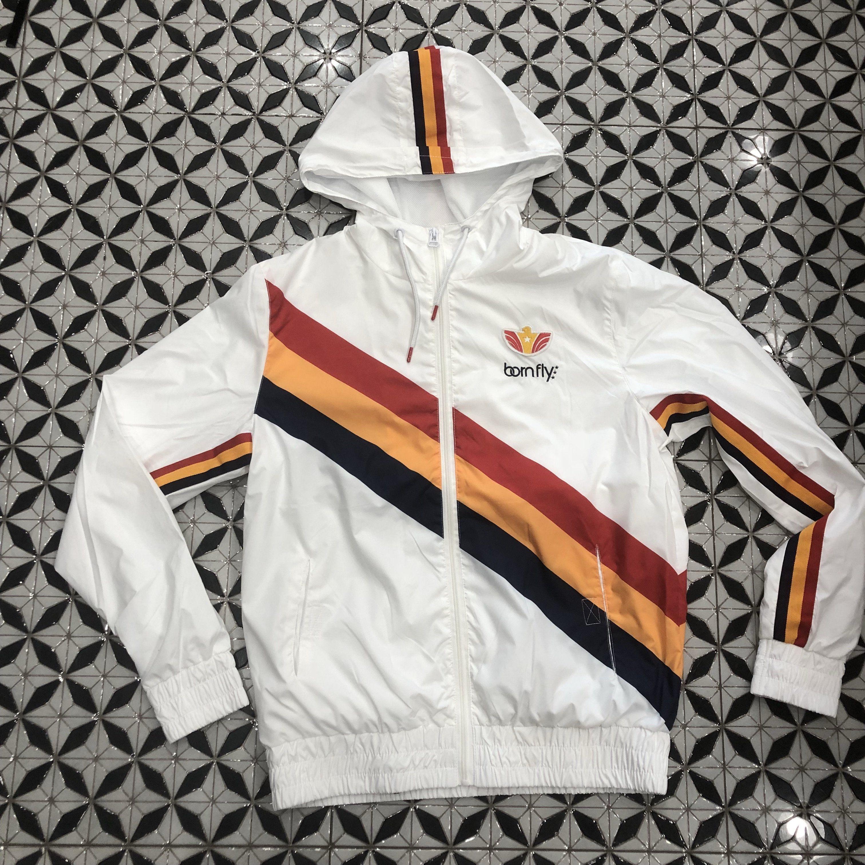 Born Fly White Windbreaker Jacket Coats Jackets White