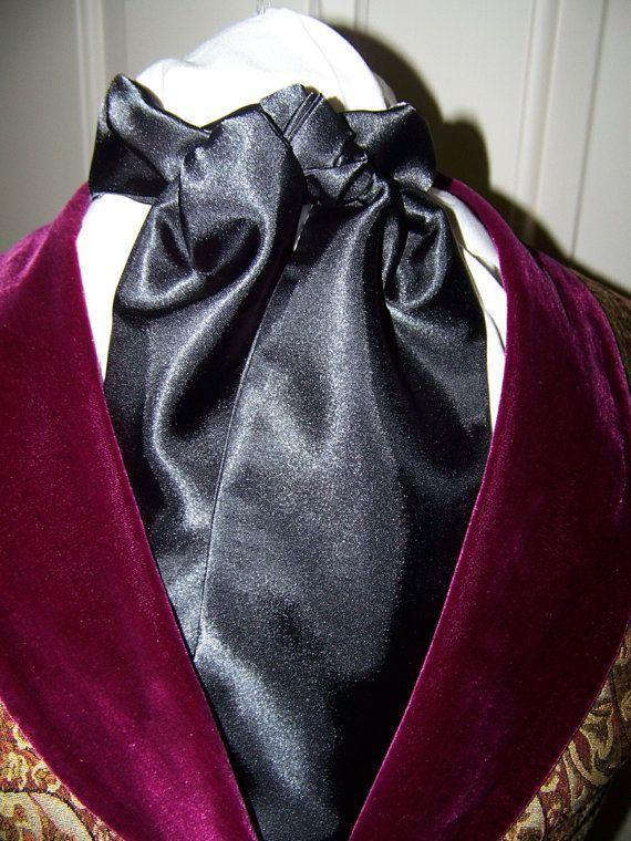 Cravat In Black Satin or Ascot Mens Victorian Tie by lavonsdesigns, $15.95