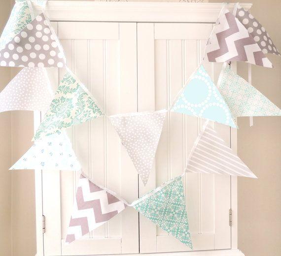 Banner Bunting 21 Fabric Flags 9 Feet Light Blue Aqua Grey Chevron Damask Polka Dot Baby Nursery Decor Wedding Garland Photo Prop
