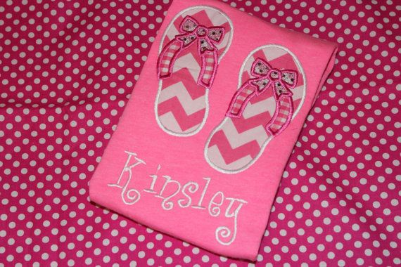 Pink Chevron summer flip flops Personalized tshirt by stephstowell, $21.00