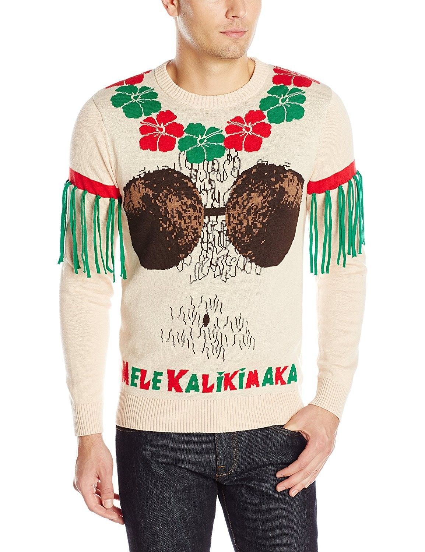 Men\'s Mele Kalikimaka Ugly Christmas Sweater - Peach - CI122JTHJG9 ...
