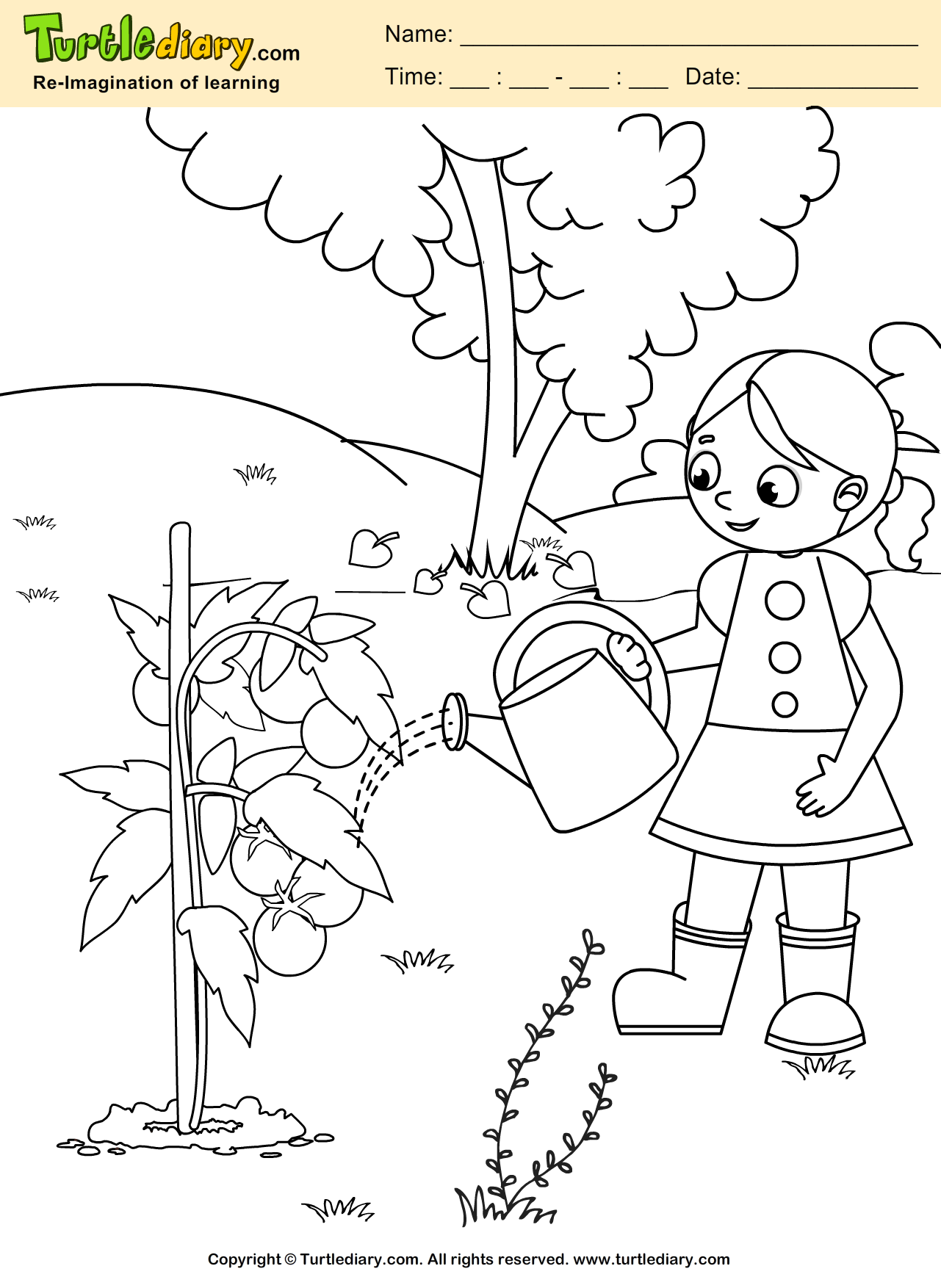 Water Plant Earth Day Coloring Page Kids Crafts