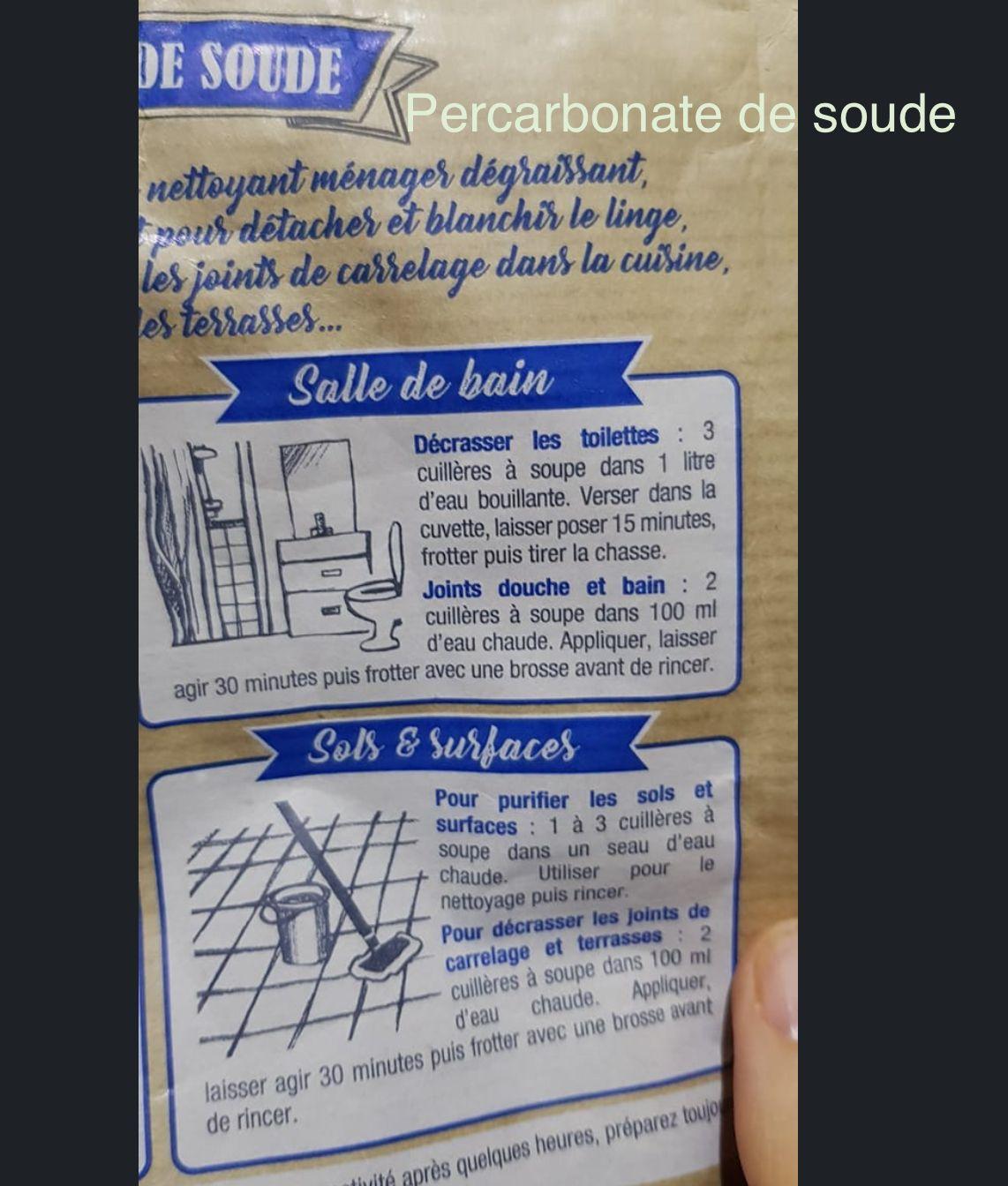 Percarbonate de soude pour nettoyer WC et joints sdb