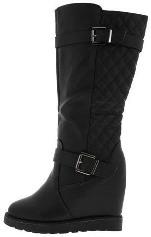 BROOKS05H BLACK PU QUILTED WEDGE BOOT