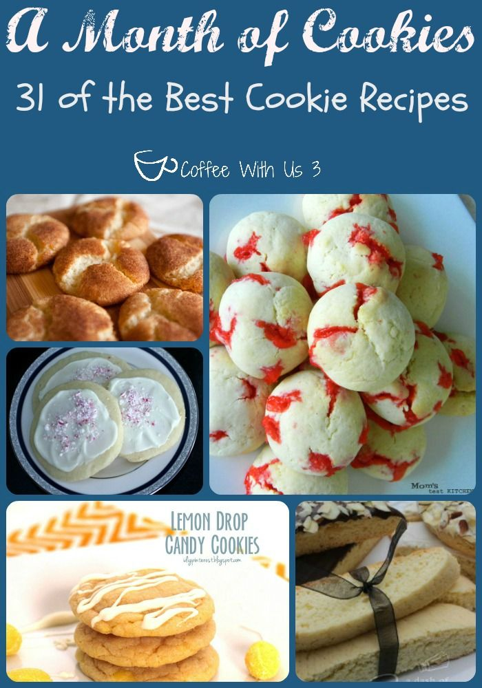 A month of cookies - 21 of the BEST cookie recipes via Coffee with Us 3! #recipes #cookieroundup #food #dessert