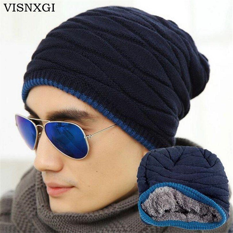 3553d1f7f34 Click to Buy    VISNXGI Unisex Beanie Winter Hats Cap Men Women Stocking Hat  Beanies Stripe Knitted Hiphop Hat Male Female Warm Wool Cap Winter   Affiliate