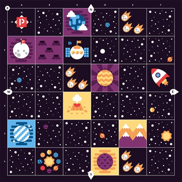 Kids program their Cubetto coding toy for kids to move through this space-themed play mat without hitting asteroids.