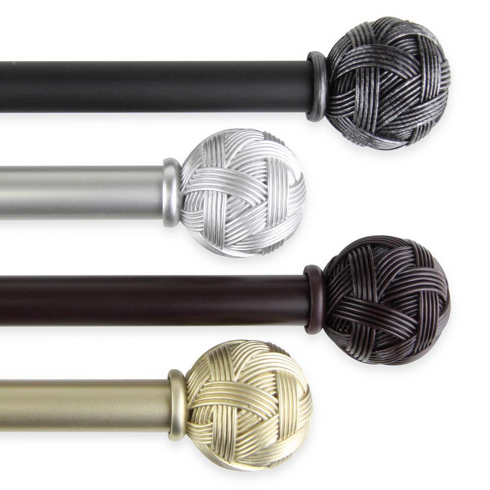 Rod Desyne Twine 160 In 240 In 1 In Single Curtain Rod In Black 100 22 1602 The Home Depot Curtain Rods Decorative Curtain Rods Single Curtain Rod