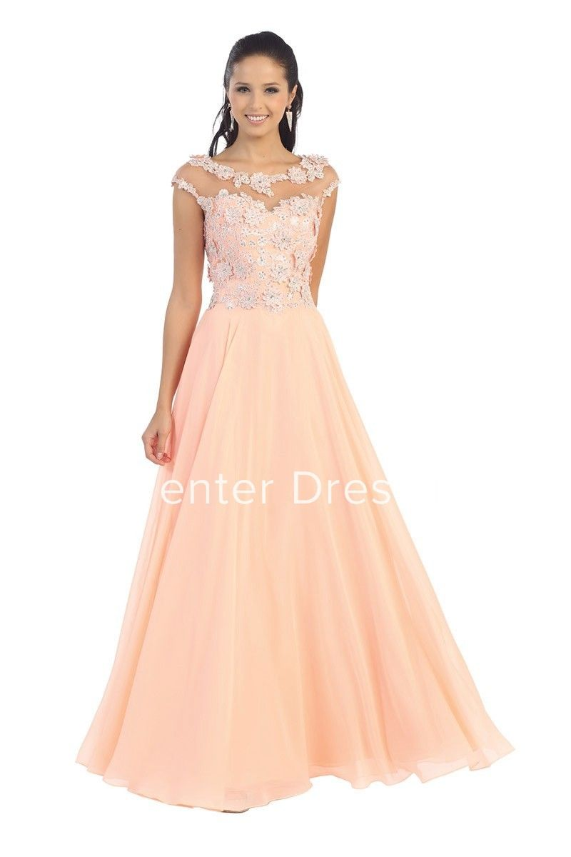 57cb10a6a02 A-Line Long Scoop-Neck Cap-Sleeve Chiffon Illusion Dress With Appliques And  Pleats